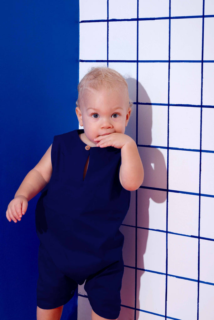 The KITA Babies Jumpsuit - Navy Blue
