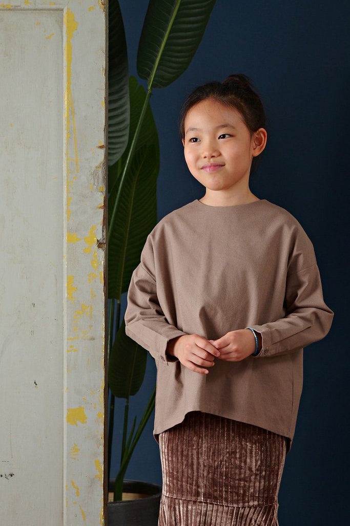 The Cerita HI-LO Blouse - Dark Tortilla Brown