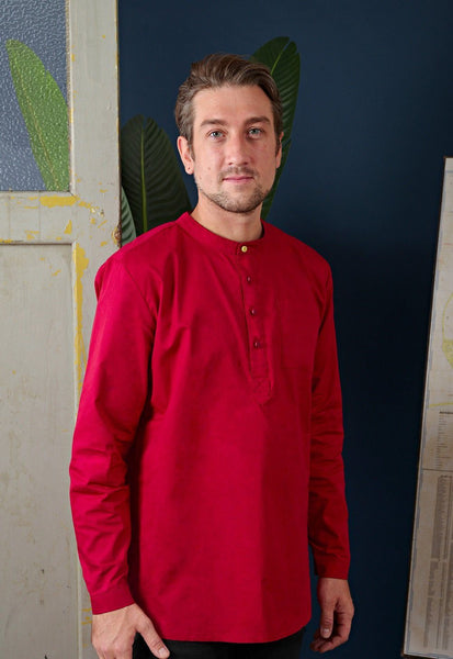 The Cerita Men Kurta - Carmine Red