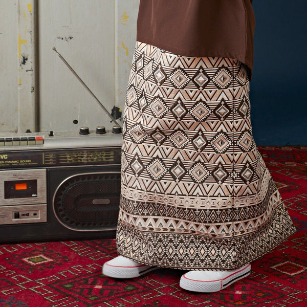 The Cerita Jacquard Skirt - Dark Brown