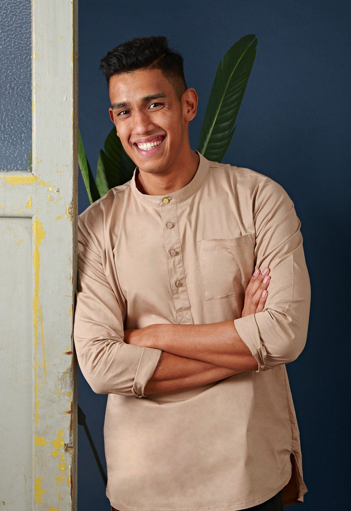 The Cerita Men Kurta - Tortilla Brown