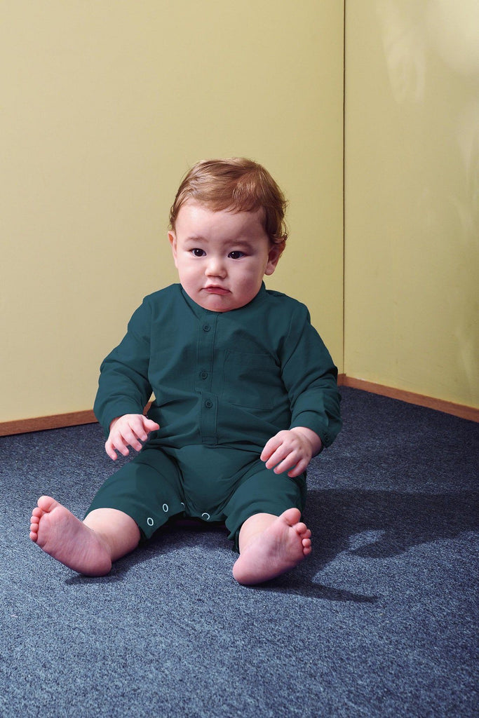 The TENANG Babies Mandarin Jumpsuit - Emerald Green