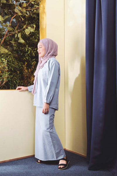 The TENANG Floral Baju Kurung - Dusty Blue