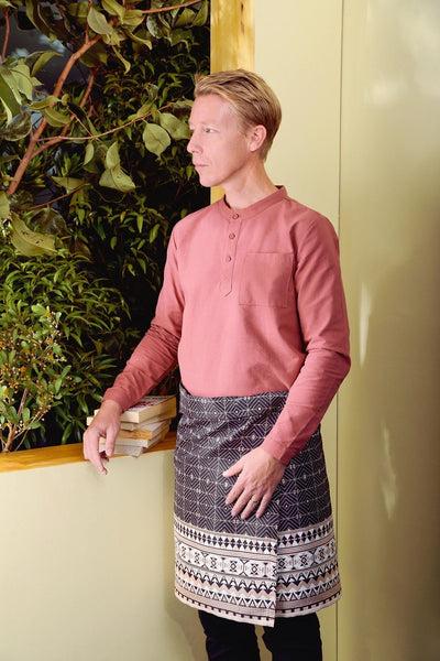 The TENANG Men Mandarin Kurta - Dusty Brick