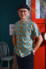 The Spring Men Mandarin Top - Spring Garden Print