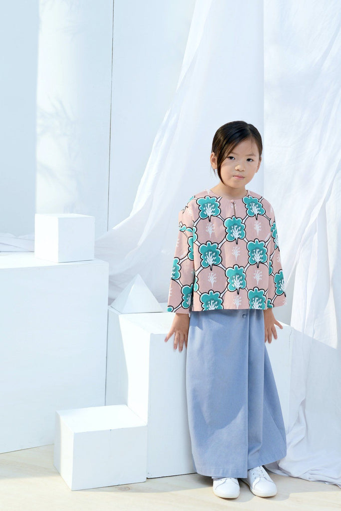 The Bangun Kurung Kedah Blouse - Broccoli Print