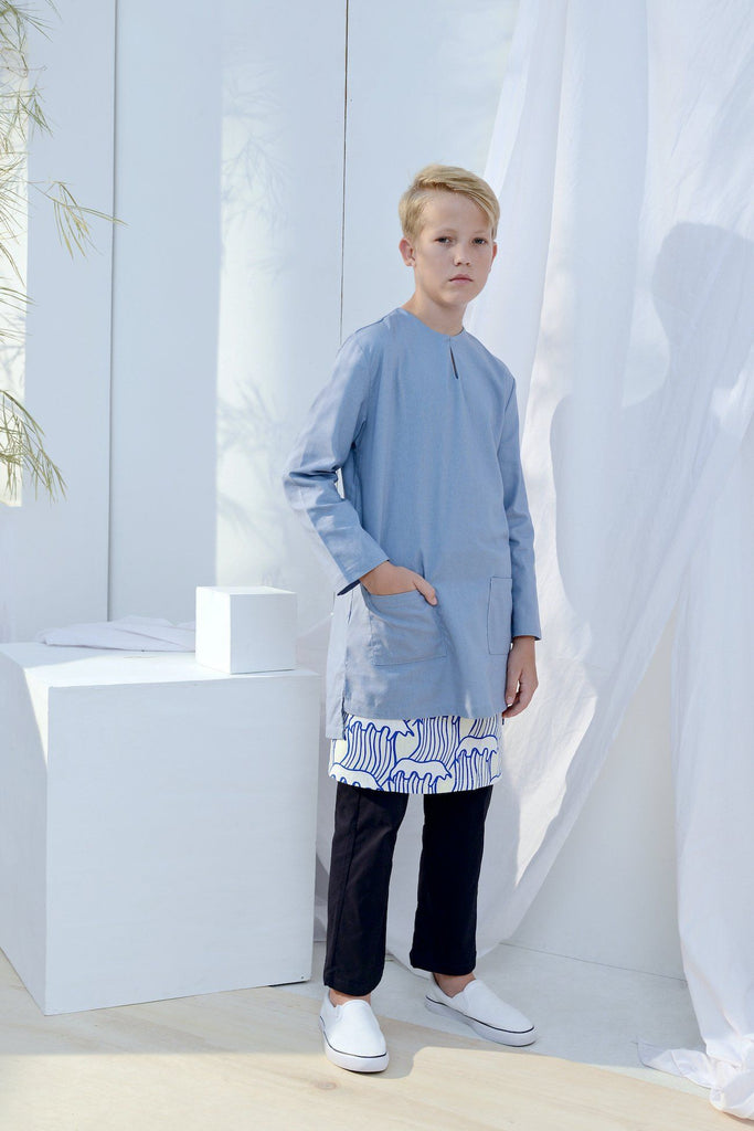 The Bangun Pair Pockets Kurta - Light Pigeon Blue