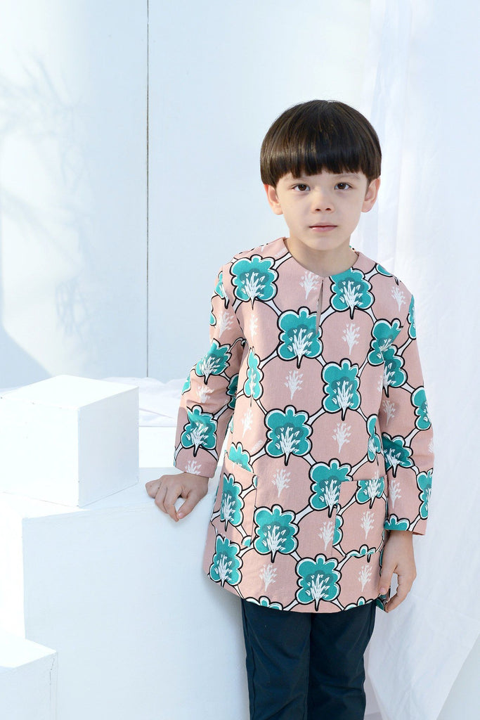 The Bangun Pair Pockets Kurta - Broccoli Print