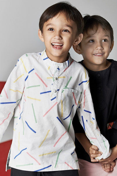 Single pocket shirt cotton kanak-kanak summer playdate patterned