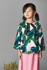 The Tropical Leaves Comfort Blouse - Salmon Pink
