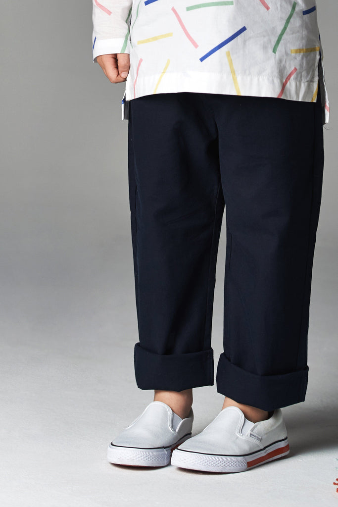 The Serai Unisex Tapered Pants - Dark Blue
