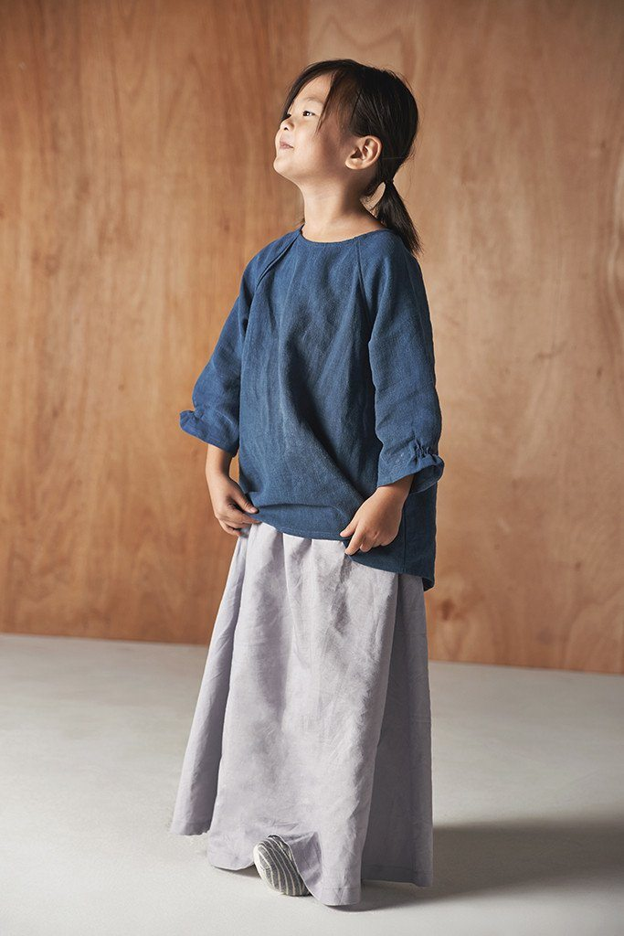 Baju kanak-kanak design moden padi long cotton skirt in grey