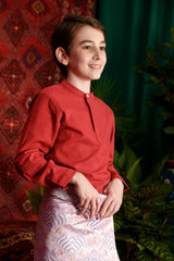 The Teratai Mandarin Kurta - Ruby Red
