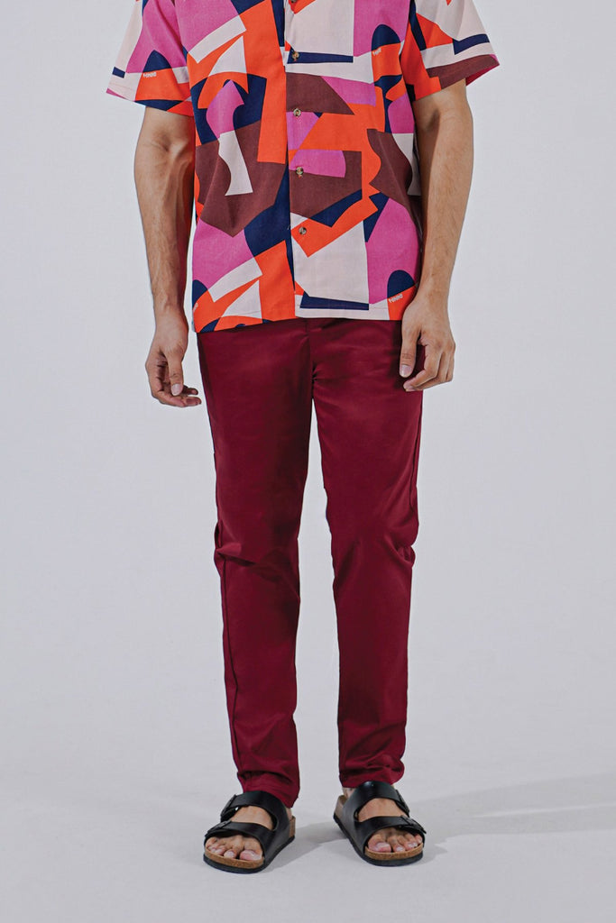 The Perfect Men Slim Fit Pants - Maroon