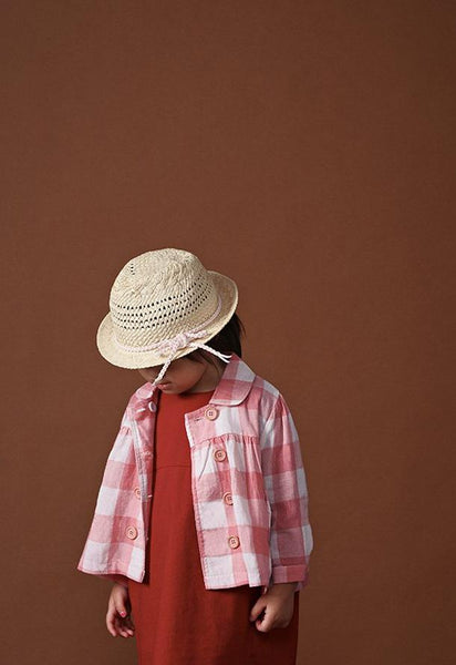 The Ingat Jacket Blouse - Pink Checked