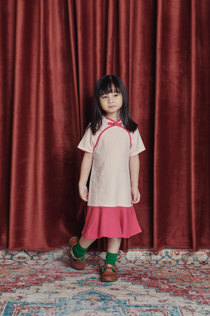 The Spring Short Sleeve Midi Cheongsam - Checked with Rose