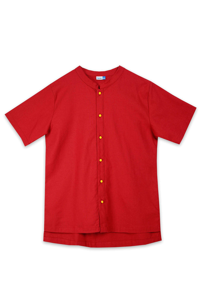 The Spring Men Mandarin Top - Red - POKOKS.COM