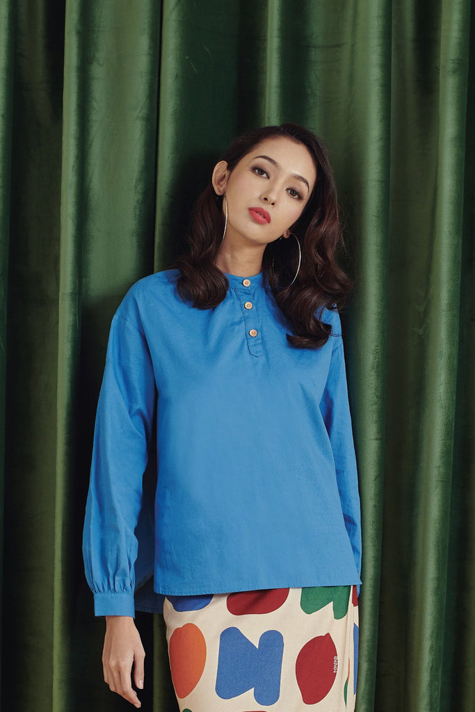 The Rona Women Peasant Blouse - Steel Blue