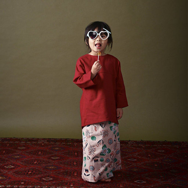 The Ingat Baju Kurung - Ruby Red with Floral Print