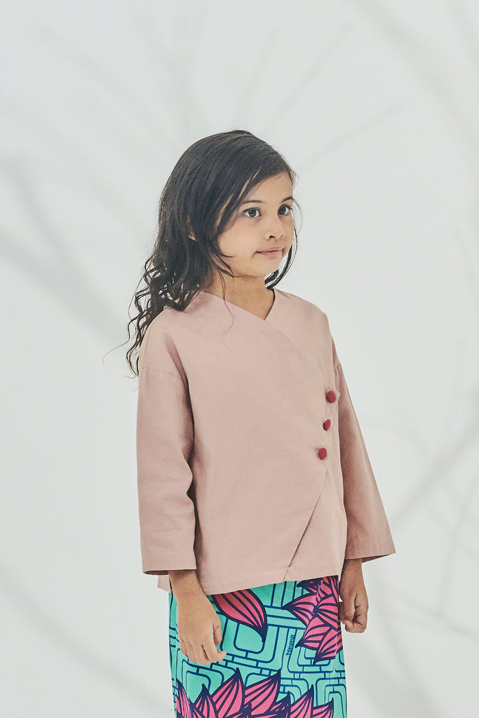The Timur Wrapped Blouse - Dusty Pink
