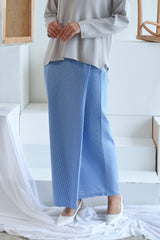 The Sungai Women Folded Skirt - Sky Checked