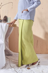 The Balik Women Buttons Folded Skirt - Lime Green