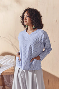 The Balik Women Dolman Sleeve Blouse - Oxford Stripe