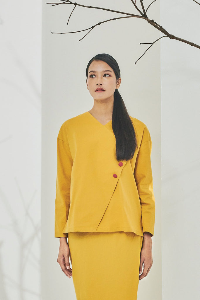The Timur Women Wrapped Blouse - Mustard