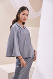 The Nari Women Butterfly Blouse - Light Pigeon Blue
