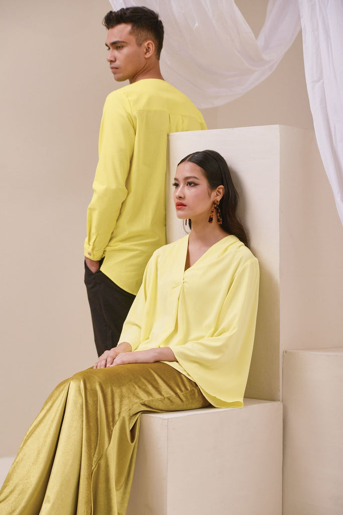 The Nari Women Butterfly Blouse - Lemon Yellow
