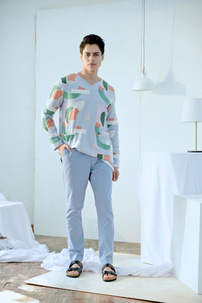 The Bangun Men Pair Pockets Kurta - Lumi Print