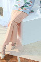 The Bangun Women Buttons Folded Skirt - Peach