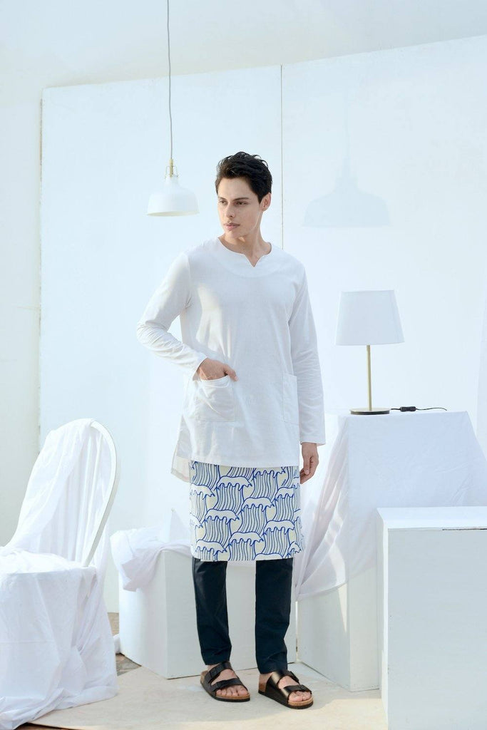 The Bangun Men Pair Pockets Kurta - White