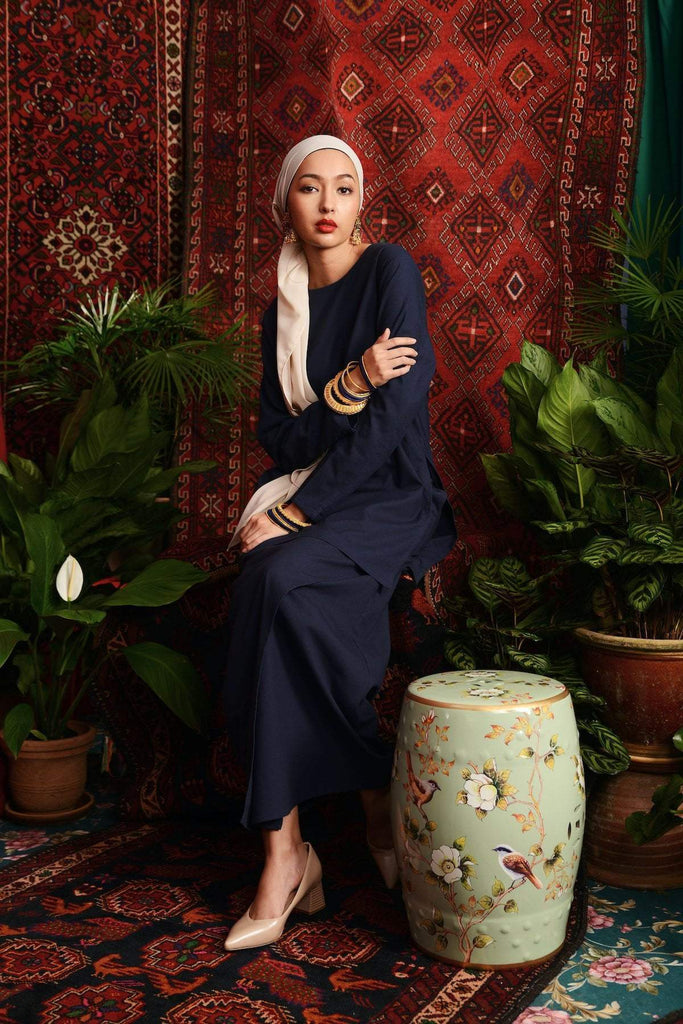 The Teratai Women Kameez - Navy Blue - POKOKS.COM