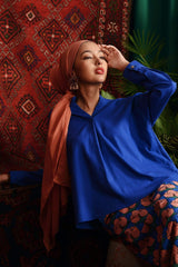 The Teratai Women Boxy Blouse - Royal Blue