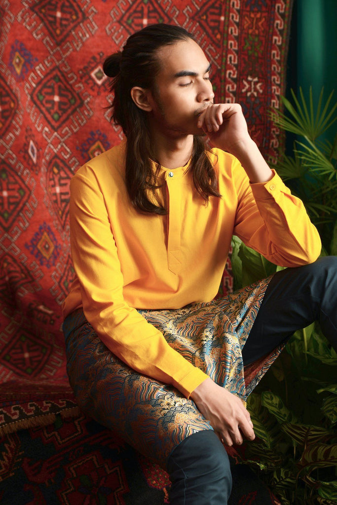 The Teratai Men Mandarin Kurta - Mustard