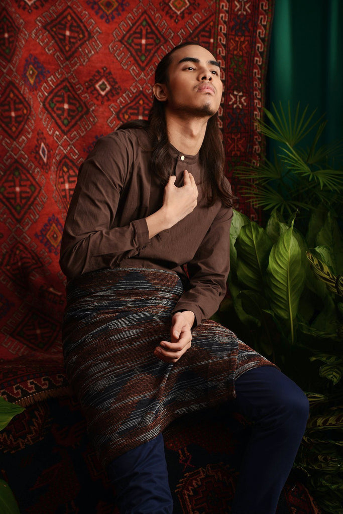 The Teratai Men Mandarin Kurta - Dark Brown