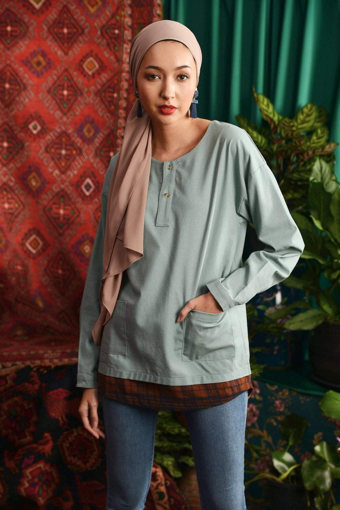 The Teratai Adults Unisex Mock Layer Top - Vegan Green / Checked Brown - POKOKS.COM
