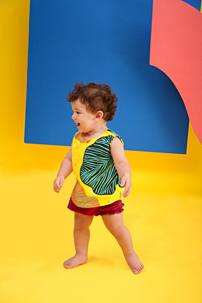 The KITA Babies Set with Bloomers - Explorers Print with Berry Red