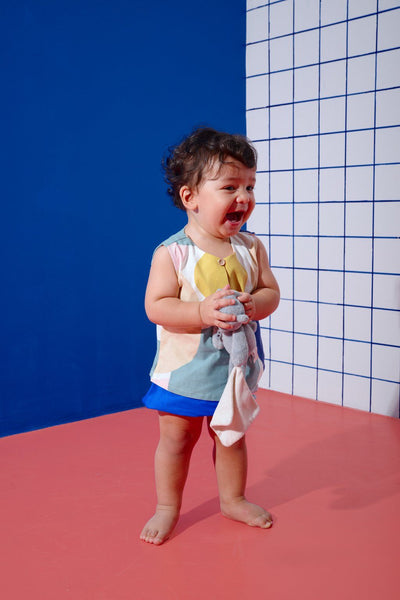 The KITA Babies Set with Bloomers - Sailors Print with Royal Blue