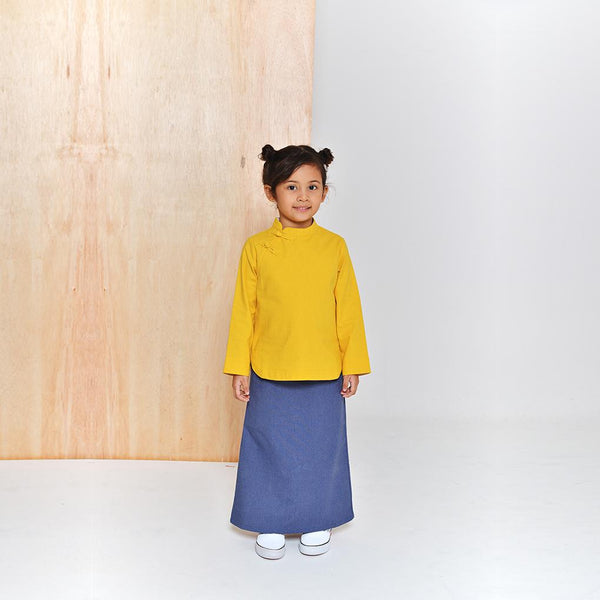 The Limau Cheongsam Baju Kurung - Mustard with Glaucous Blue
