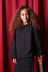 The TALI Overlay Blouse - Black