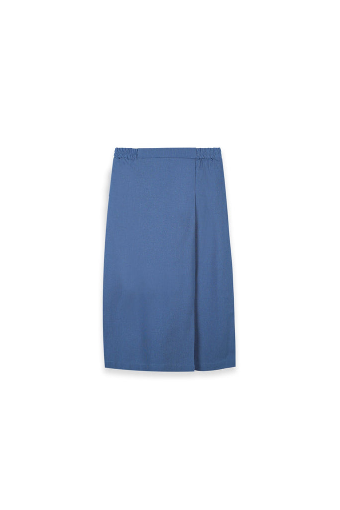 The Oasis Folded Skirt - Steel Blue