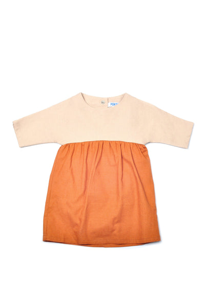 The Pulau Babies Bicolor Dress - Khaki with Brown