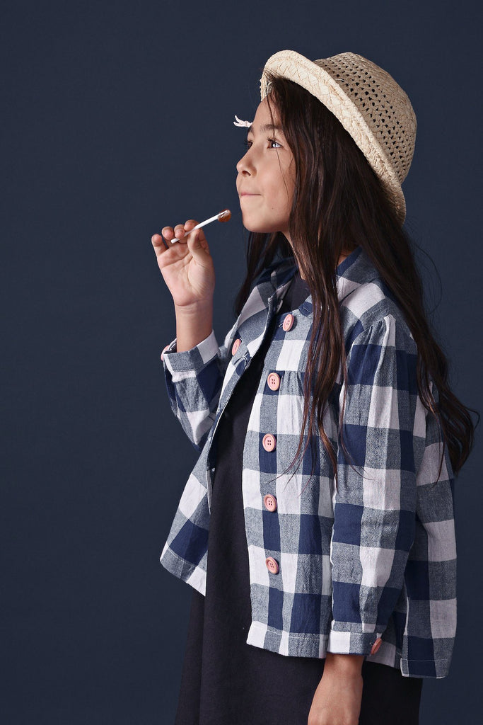 The Ingat Jacket Blouse - Blue Checked