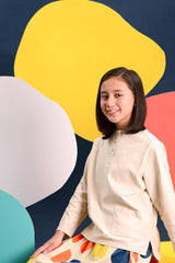The Pelangi Pair Pockets Blouse - Cream