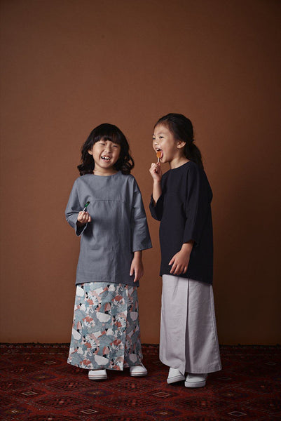 The Ingat Baju Kurung - Dark Blue with Light Grey