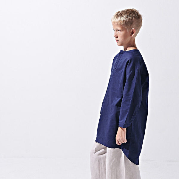 The LAGOM Unisex High Low Kurta - Oxford Blue