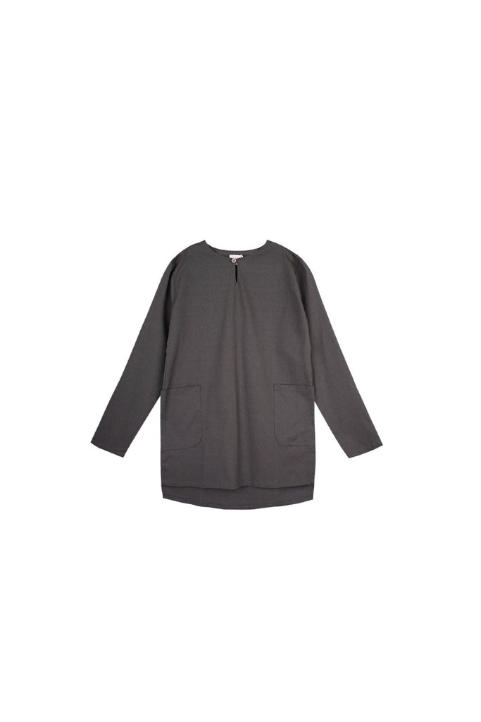 The Langit Men Baju Melayu Shirt With Pair Pockets - Dark Grey