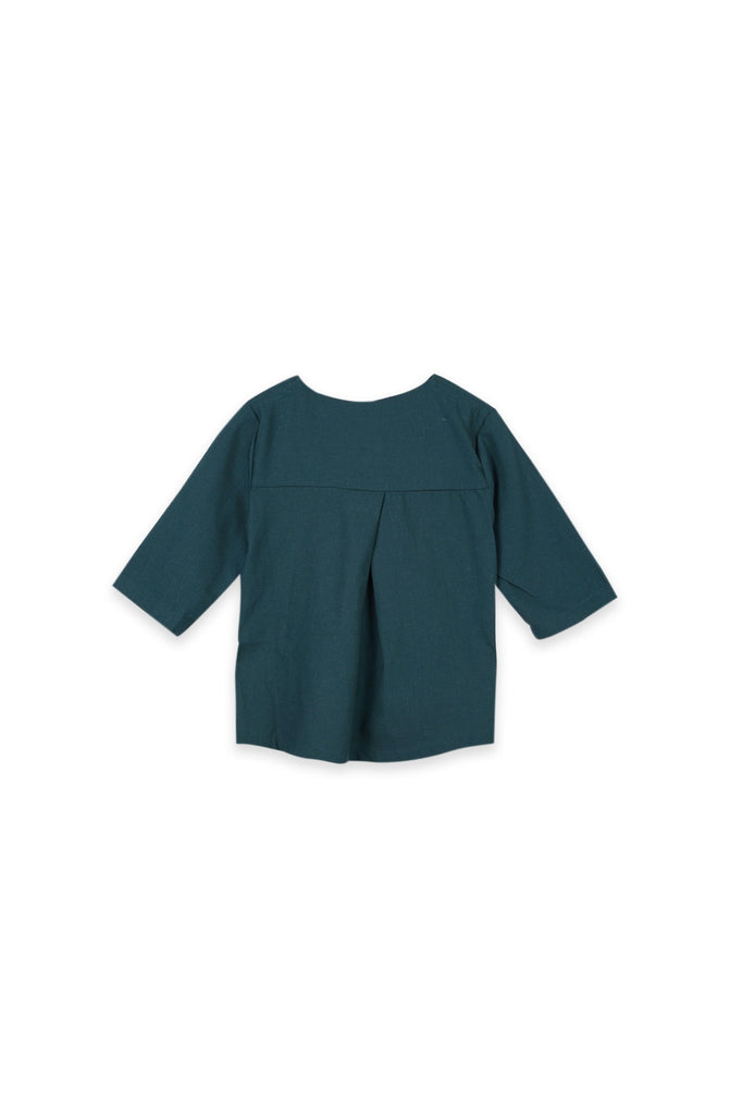 The Oasis Folded Back Blouse - Emerald Green